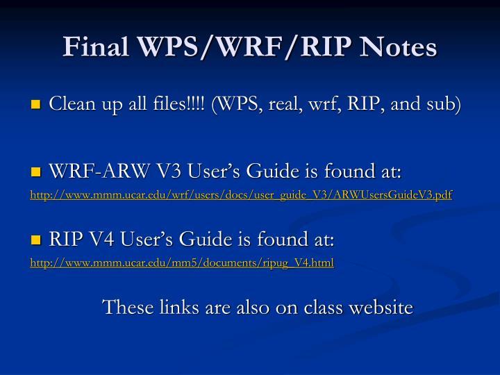 Final WPS/WRF/RIP Notes