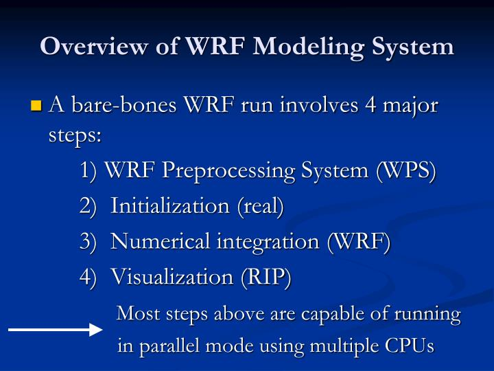 Overview of wrf modeling system1