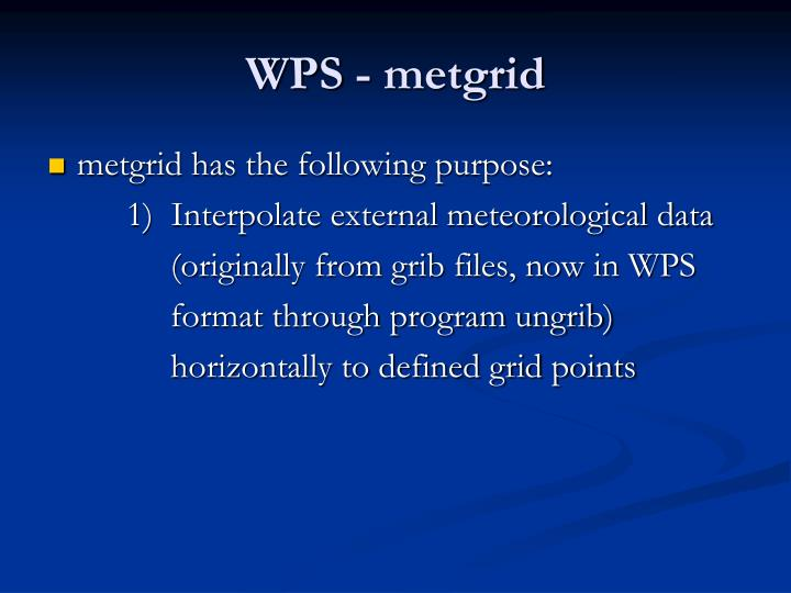 WPS - metgrid