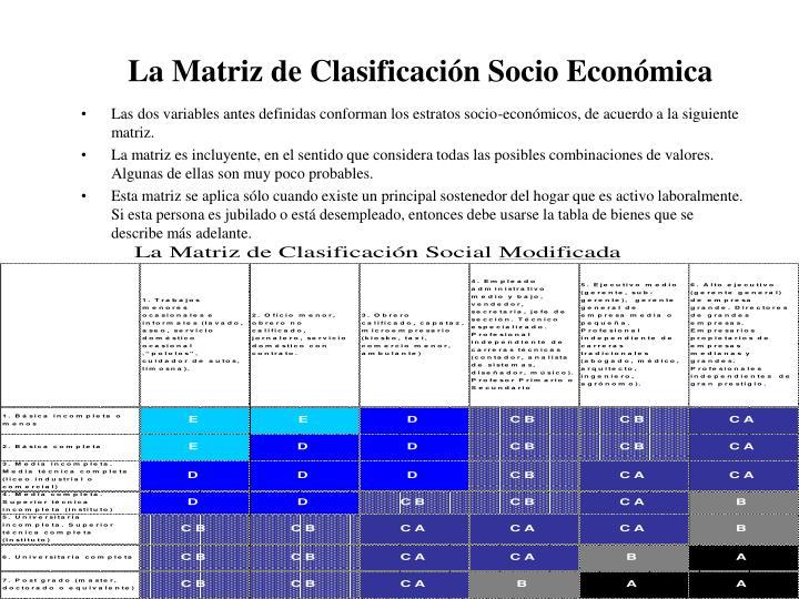 La Matriz de Clasificación Socio Económica