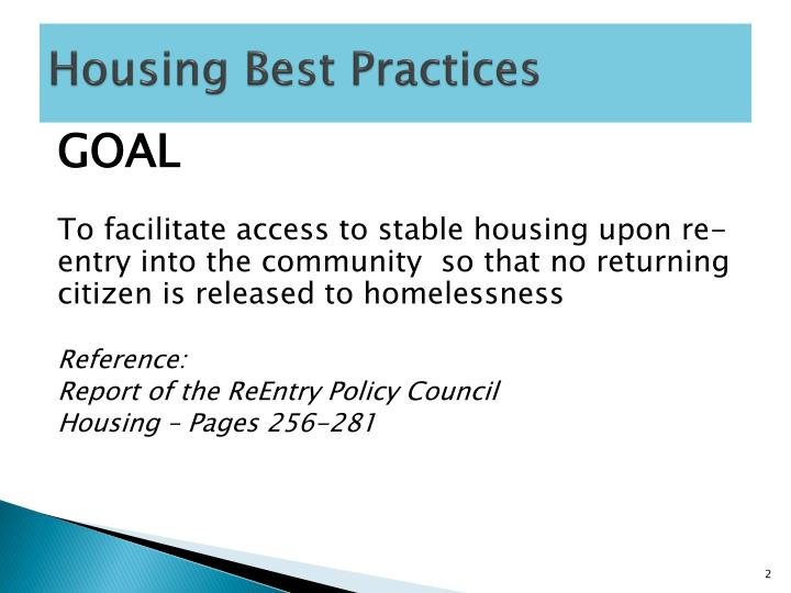 Housing best practices