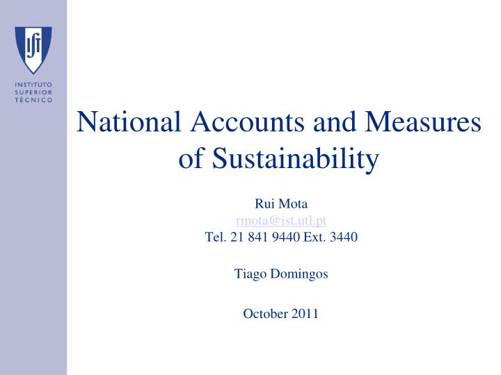 national accounts and measures of sustainability n.