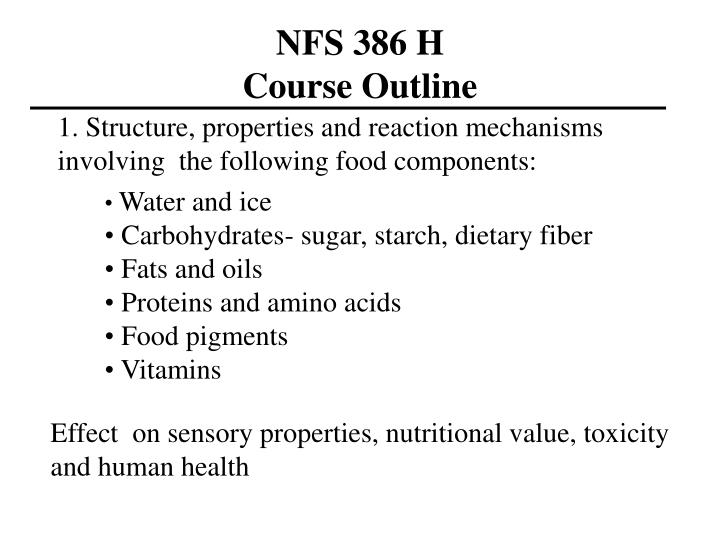 Nfs 386 h course outline