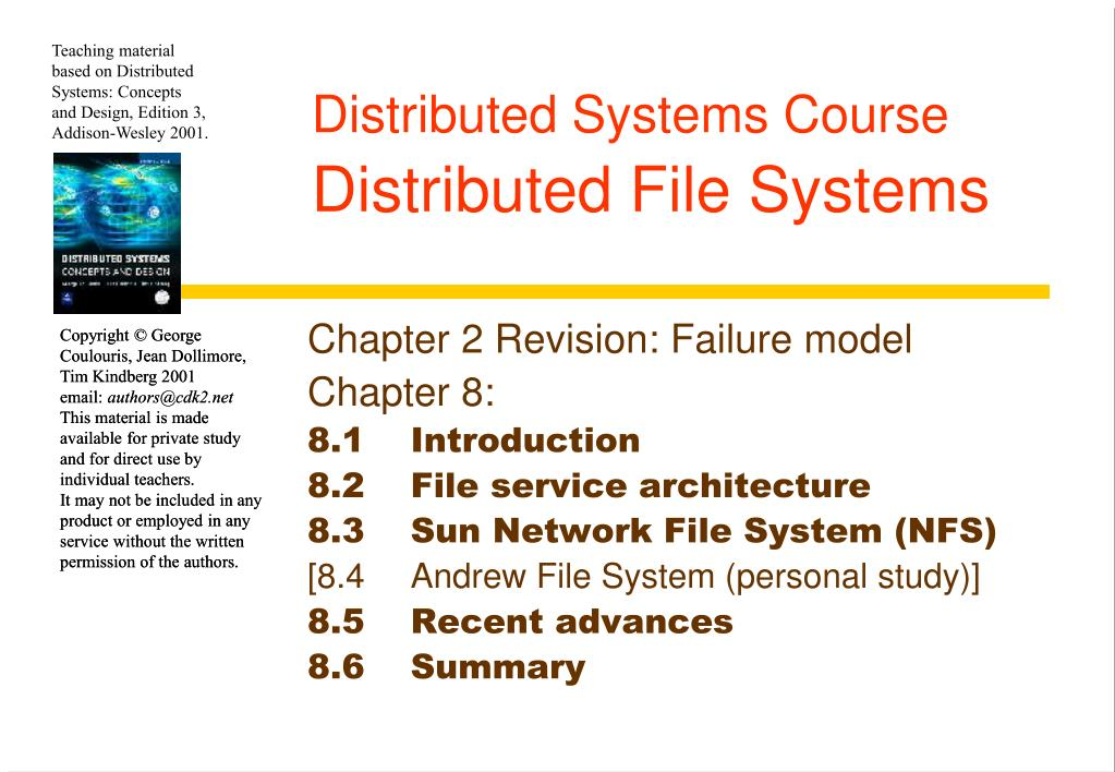 Ppt Distributed Systems Course Distributed File Systems Powerpoint Presentation Id 5697739