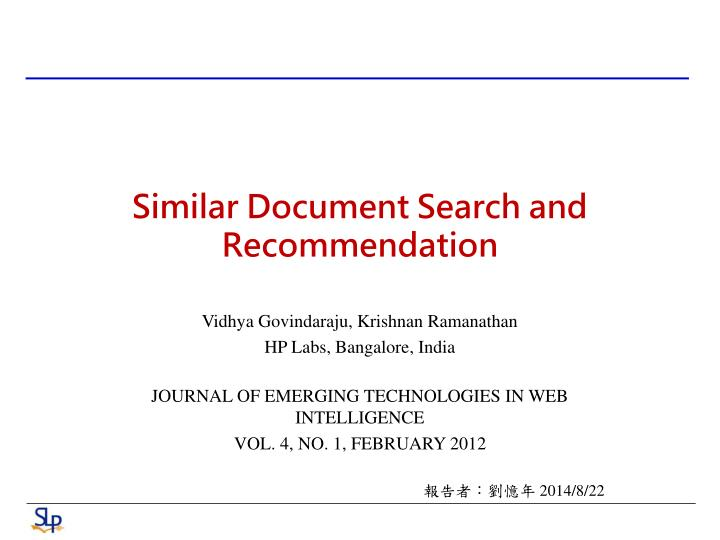 similar document search and recommendation n.