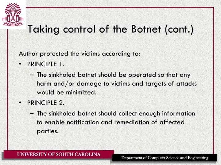 Taking control of the Botnet (cont.)