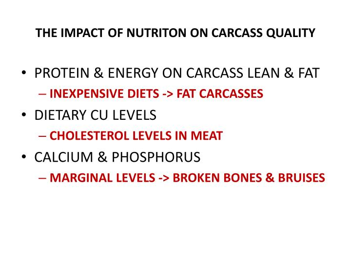 The impact of nutriton on carcass quality1