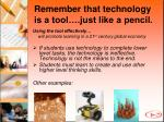 remember that technology is a tool just like a pencil