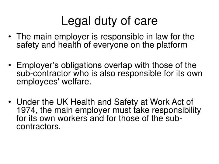 Legal duty of care
