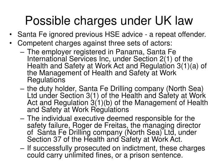 Possible charges under UK law