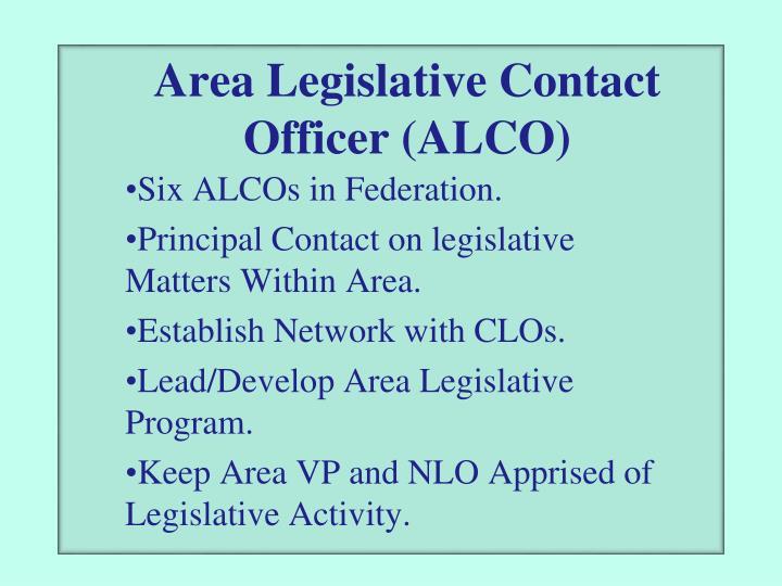 Area legislative contact officer alco