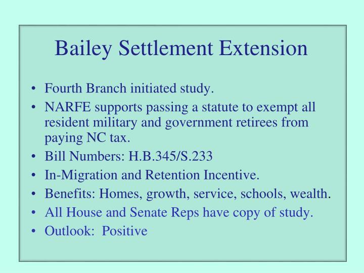 Bailey Settlement Extension