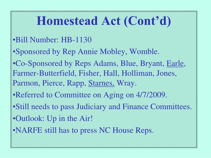 Homestead Act (Cont'd)