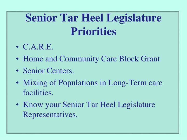 Senior Tar Heel Legislature Priorities