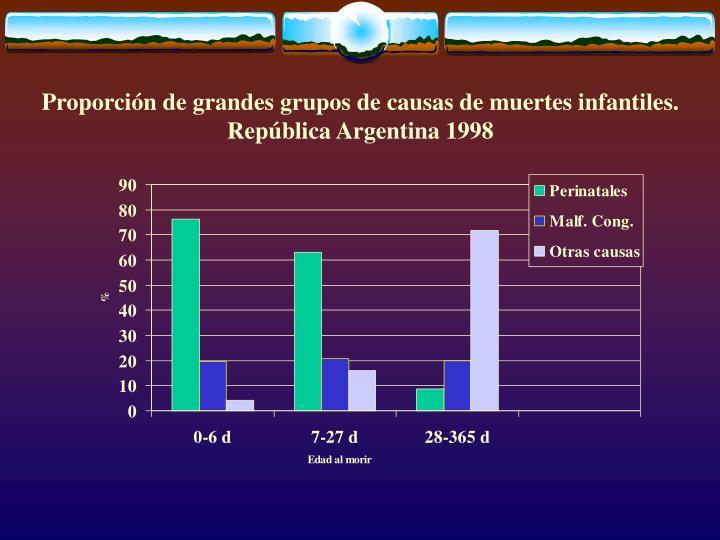 Proporción de grandes grupos de causas de muertes infantiles. República Argentina 1998