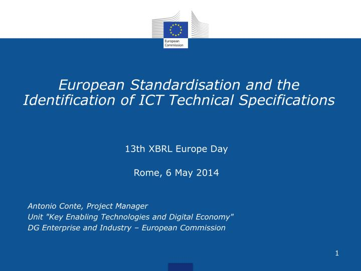 european standardisation and the identification of ict technical specifications n.