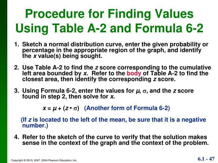 Procedure for Finding Values