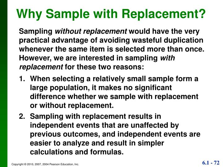 Why Sample with Replacement?