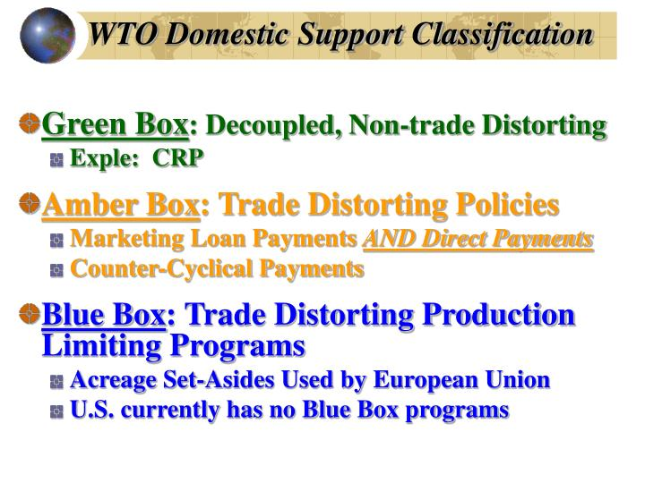 WTO Domestic Support Classification