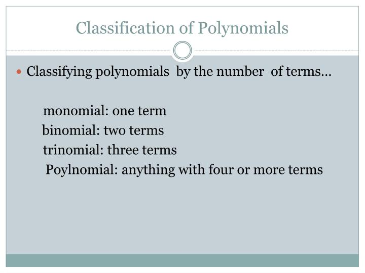 Classification of Polynomials