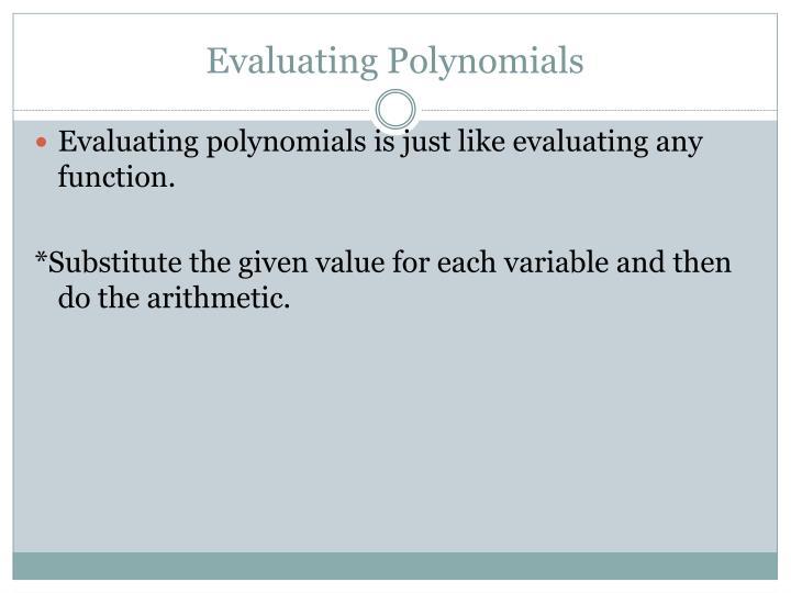 Evaluating Polynomials