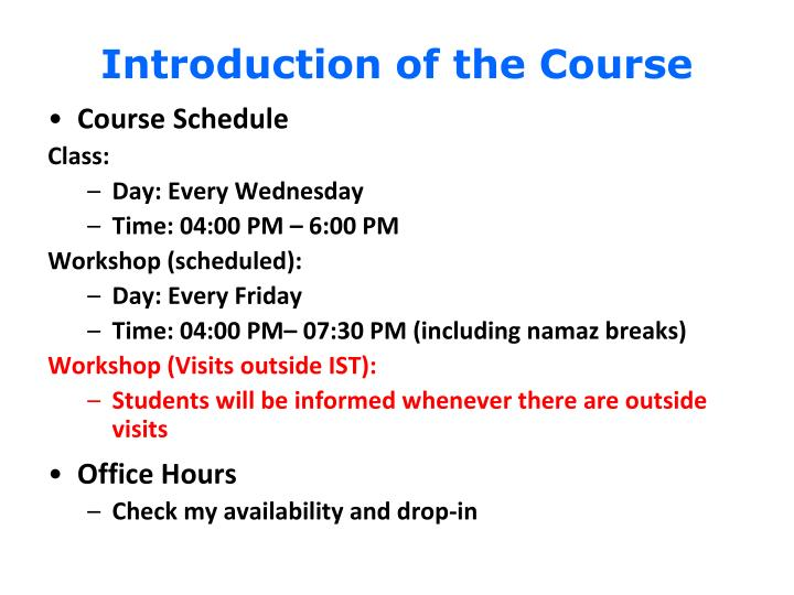Introduction of the Course