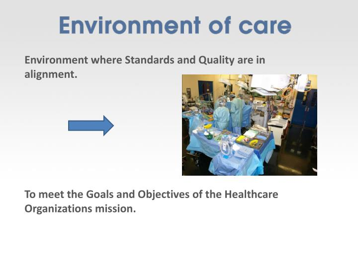 Environment where Standards and Quality are in alignment.