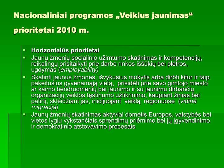 """Nacionaliniai programos """"Veiklus jaunimas"""" prioritetai 2010 m."""