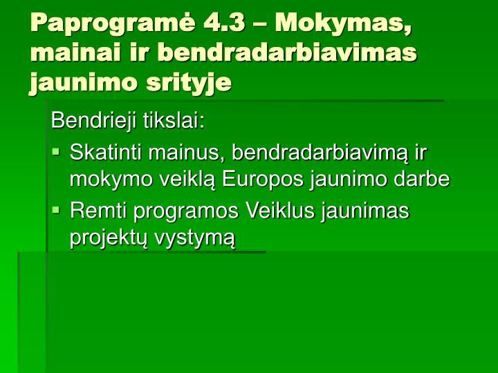 Paprogramė 4.3 – Mokymas, mainai ir bendradarbiavimas jaunimo srityje