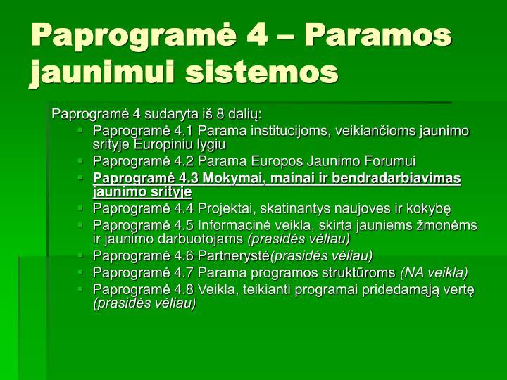 Paprogramė 4 – Paramos jaunimui sistemos