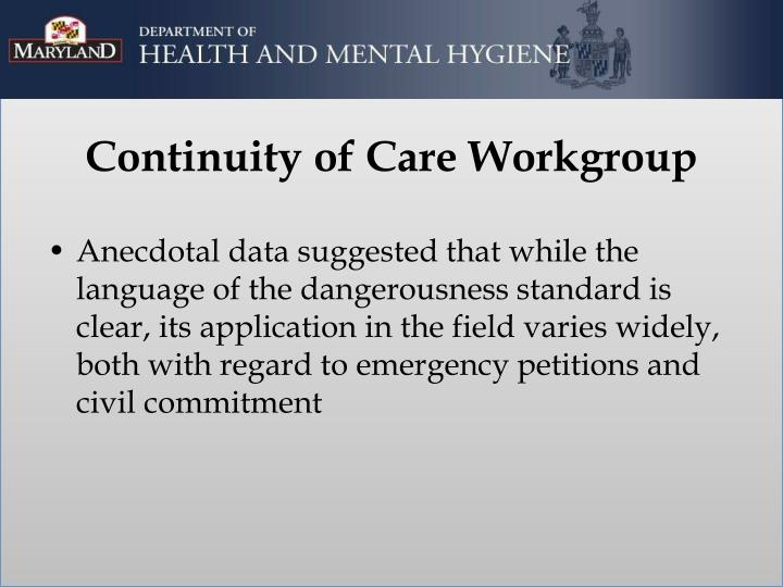 Continuity of care workgroup