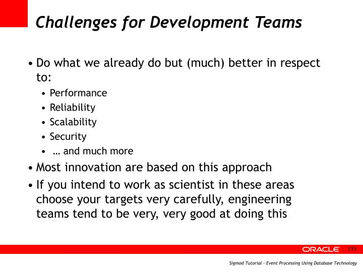 Challenges for Development Teams