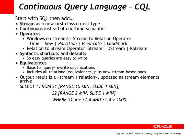 Continuous Query Language – CQL