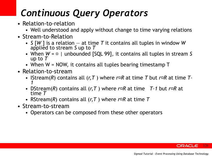 Continuous Query Operators