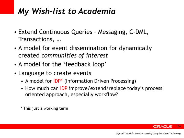 My Wish-list to Academia
