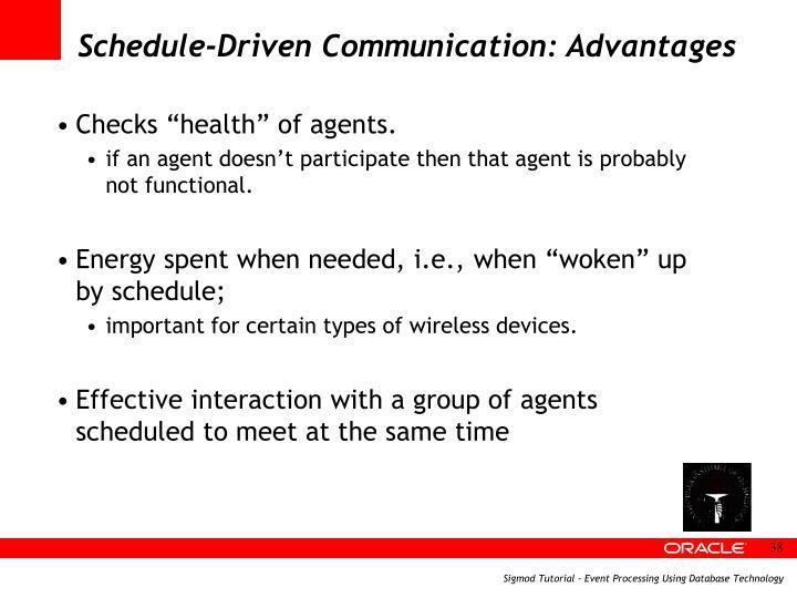Schedule-Driven Communication: Advantages