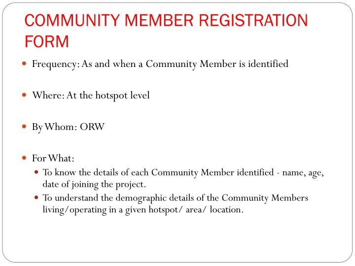 COMMUNITY MEMBER REGISTRATION FORM