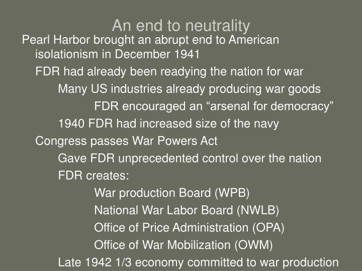 An end to neutrality