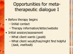opportunities for meta therapeutic dialogue i