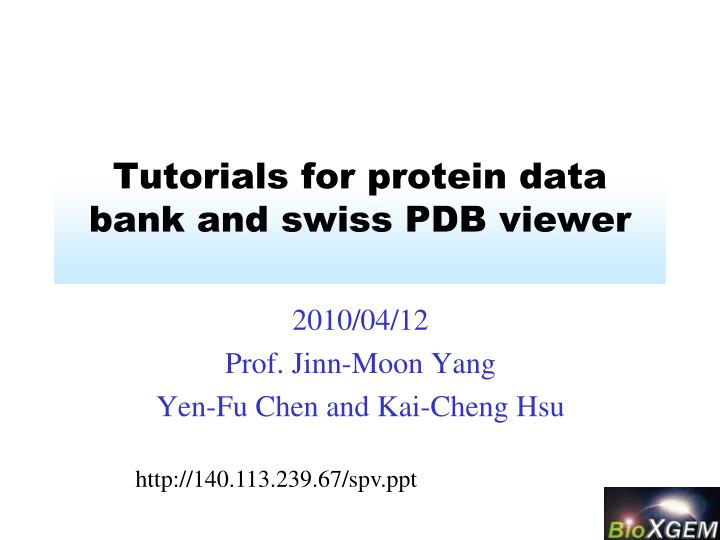 PPT - Tutorials for protein data bank and swiss PDB viewer
