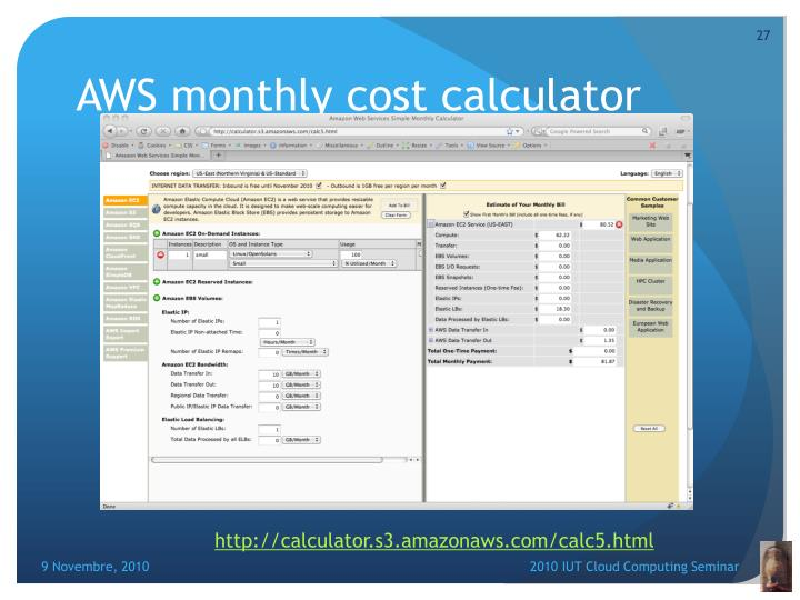 AWS monthly cost calculator
