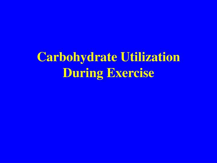 carbohydrate utilization during exercise n.