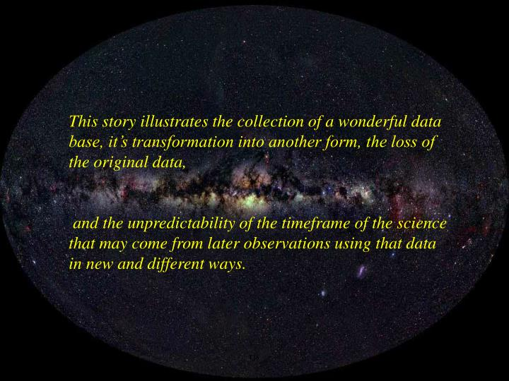 This story illustrates the collection of a wonderful data base, it's transformation into another form, the loss of the original data,