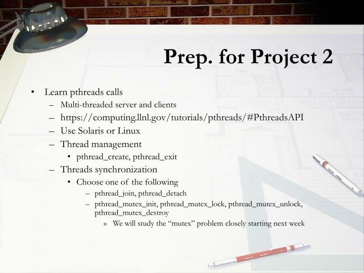 Prep. for Project 2
