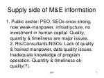 supply side of m e information