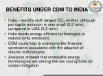benefits under cdm to india