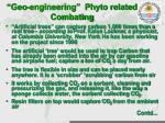 geo engineering phyto related combating