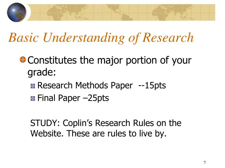Basic Understanding of Research