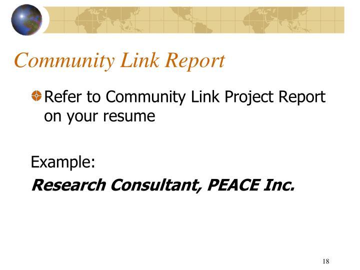 Community Link Report