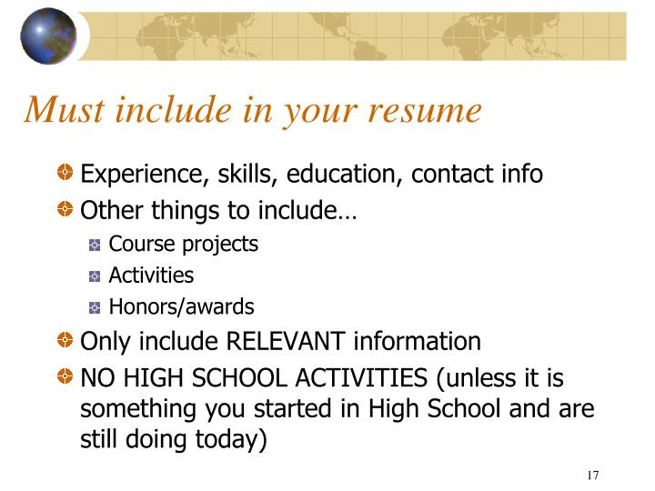 Must include in your resume